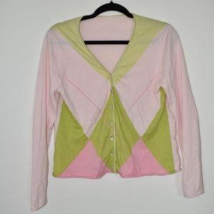 Ballantyne Pink Argyle Cahsmere Blend Sweater